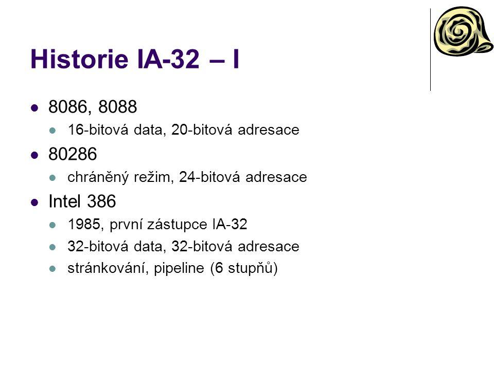 Historie IA-32 – I 8086, 8088. 16-bitová data, 20-bitová adresace. 80286. chráněný režim, 24-bitová adresace.