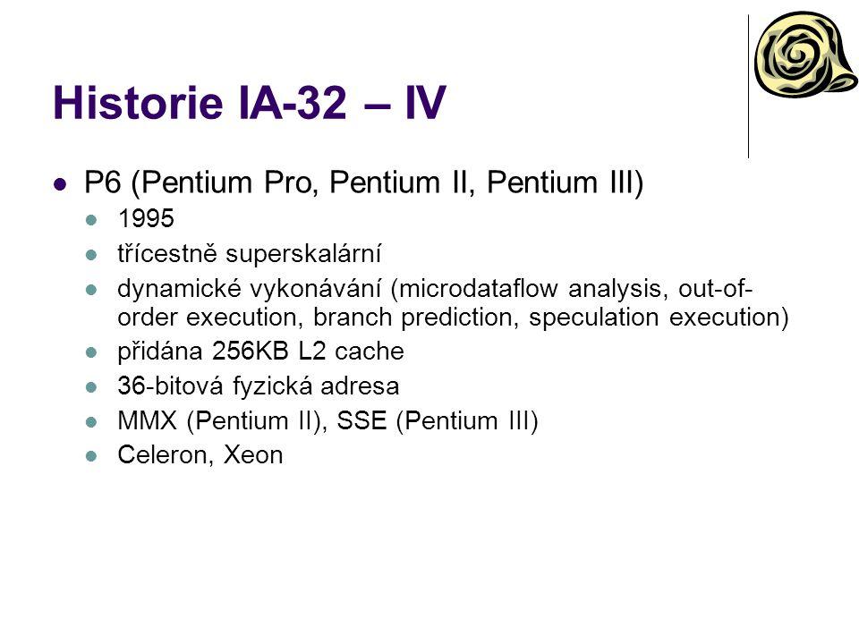 Historie IA-32 – IV P6 (Pentium Pro, Pentium II, Pentium III) 1995
