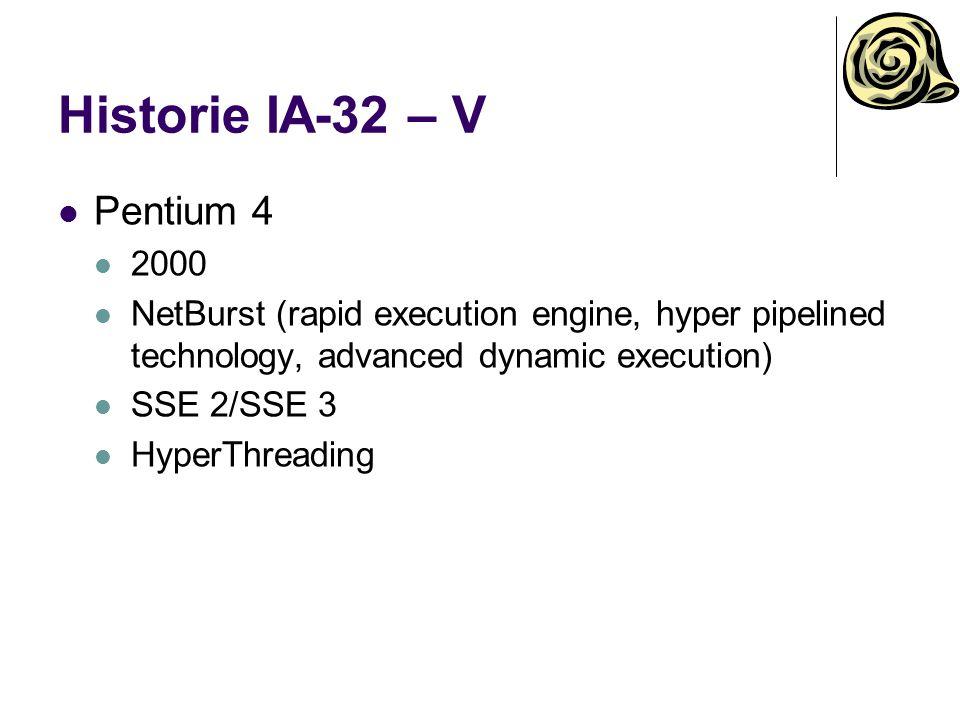 Historie IA-32 – V Pentium 4 2000