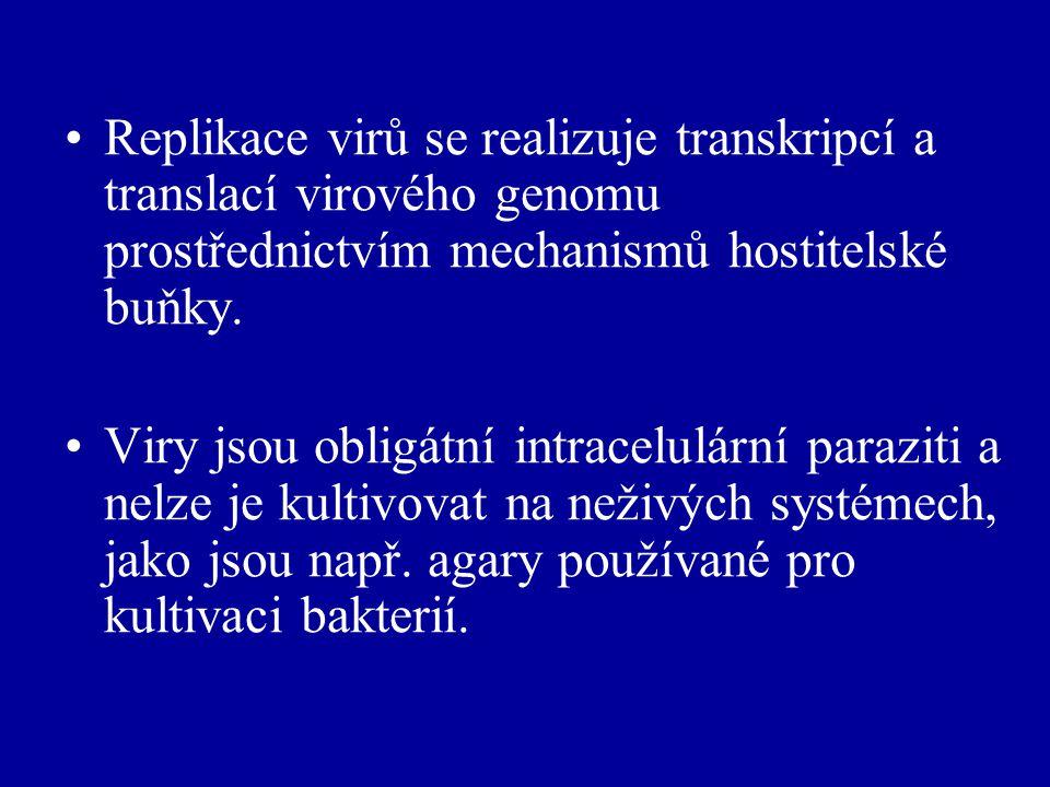 Replikace virů se realizuje transkripcí a translací virového genomu prostřednictvím mechanismů hostitelské buňky.