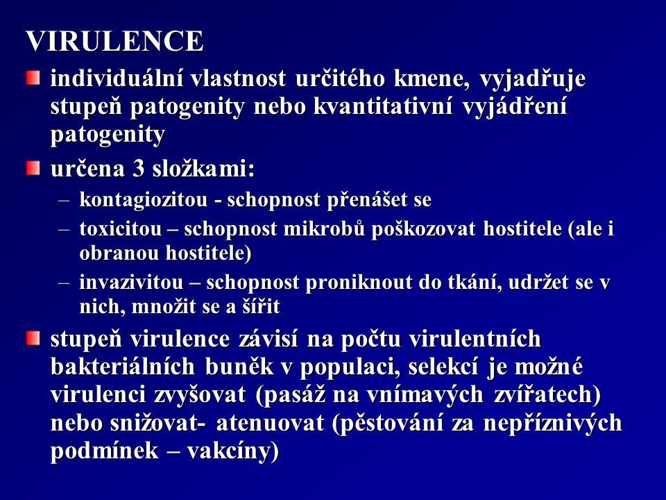 VIRULENCE individuální vlastnost určitého kmene, vyjadřuje stupeň patogenity nebo kvantitativní vyjádření patogenity.
