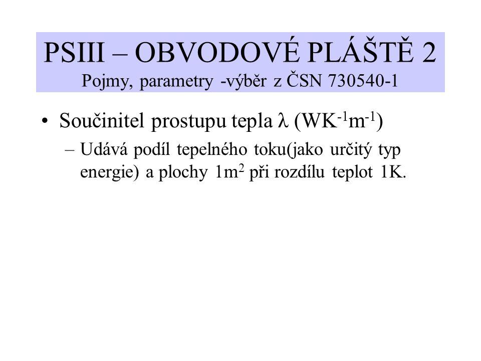 PSIII – OBVODOVÉ PLÁŠTĚ 2 Pojmy, parametry -výběr z ČSN 730540-1