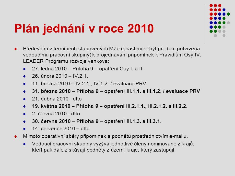 Plán jednání v roce 2010