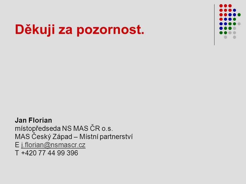 Děkuji za pozornost. Jan Florian místopředseda NS MAS ČR o.s.