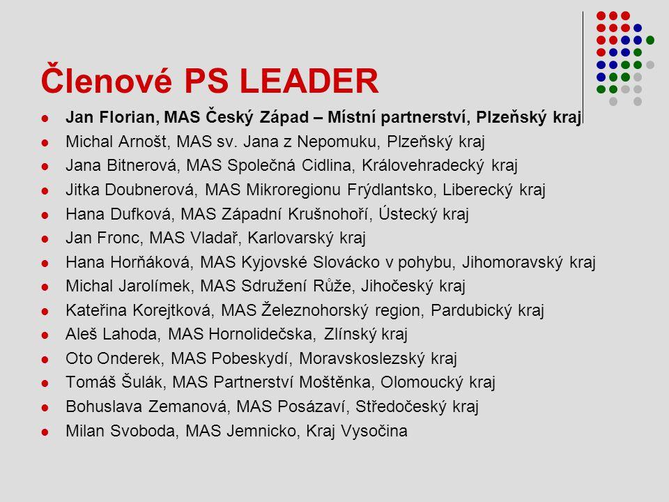 Členové PS LEADER Jan Florian, MAS Český Západ – Místní partnerství, Plzeňský kraj. Michal Arnošt, MAS sv. Jana z Nepomuku, Plzeňský kraj.