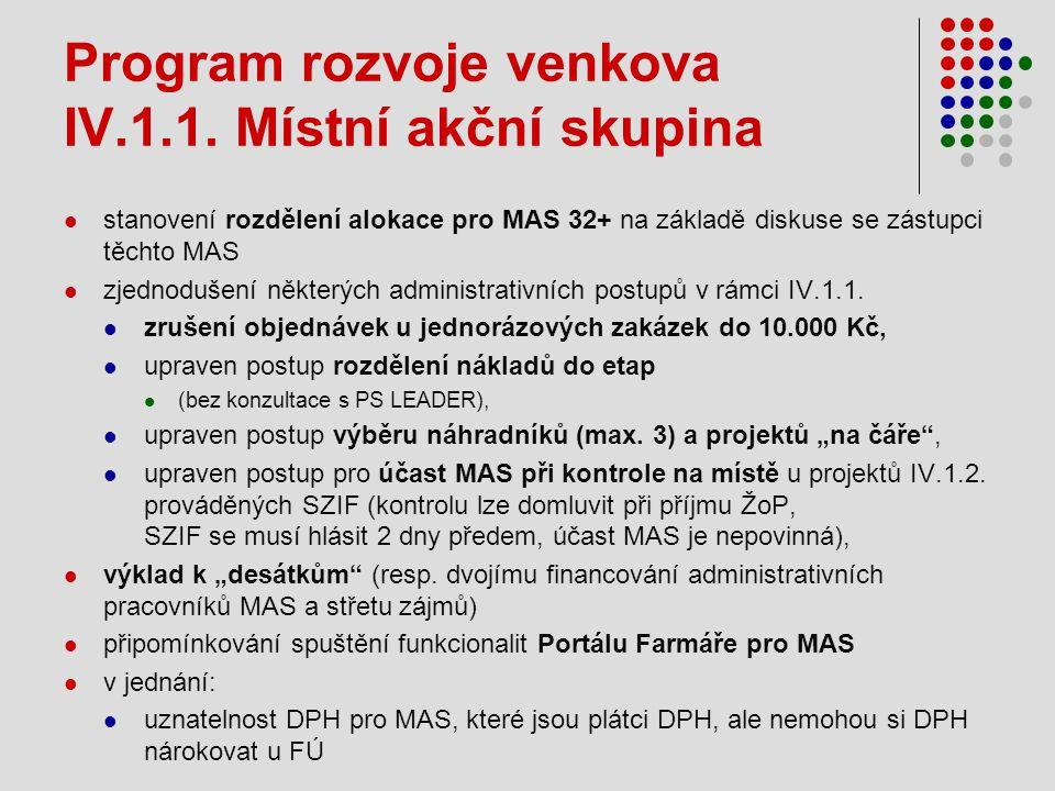 Program rozvoje venkova IV.1.1. Místní akční skupina