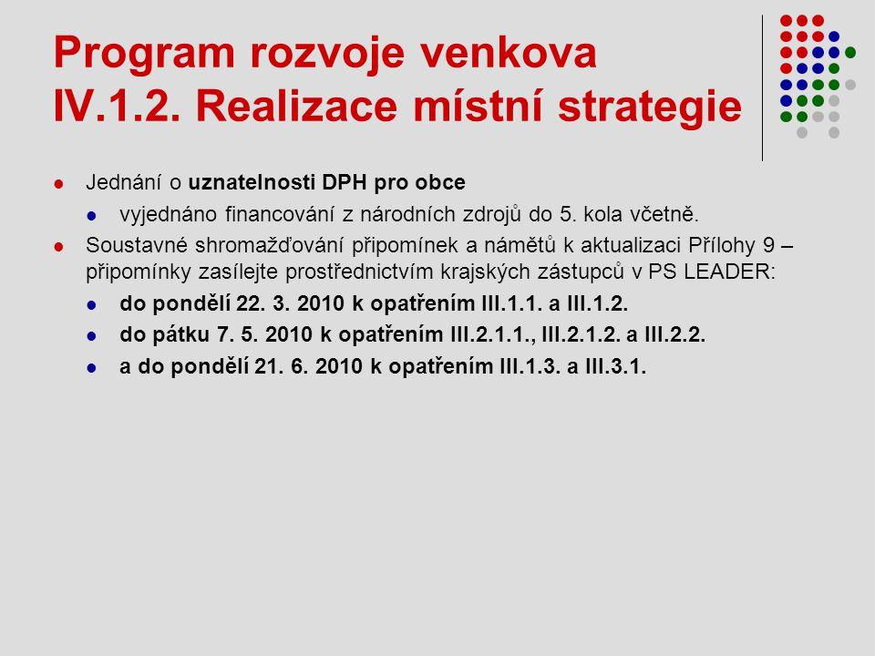 Program rozvoje venkova IV.1.2. Realizace místní strategie