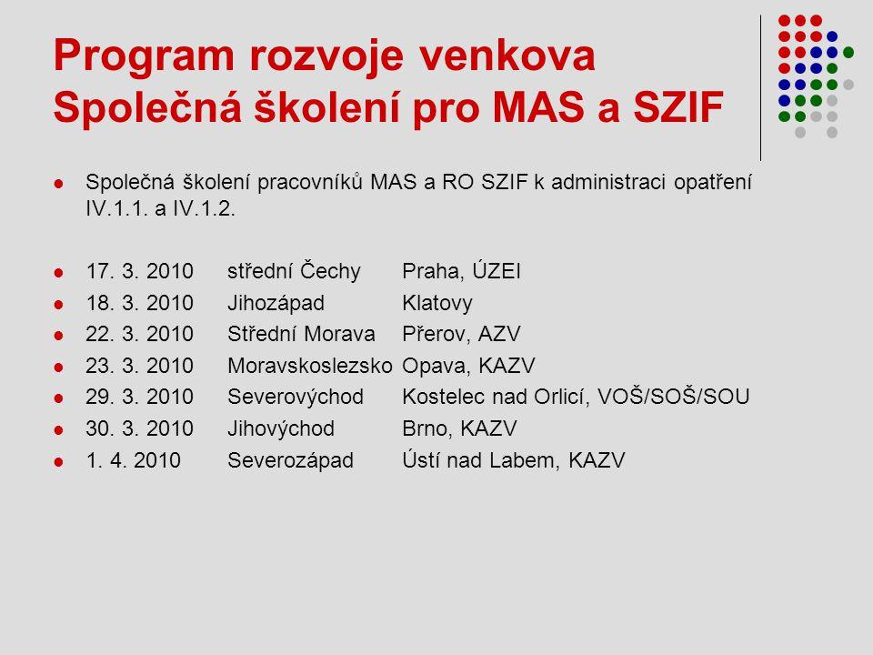 Program rozvoje venkova Společná školení pro MAS a SZIF