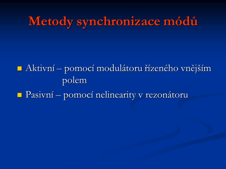 Metody synchronizace módů