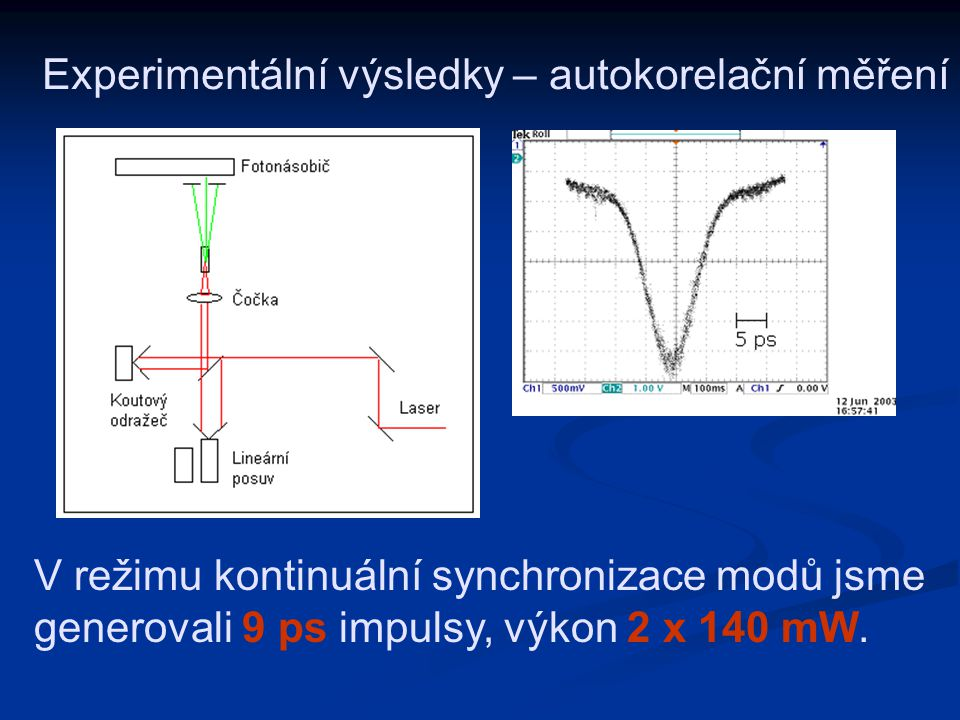 Experimentální výsledky – autokorelační měření
