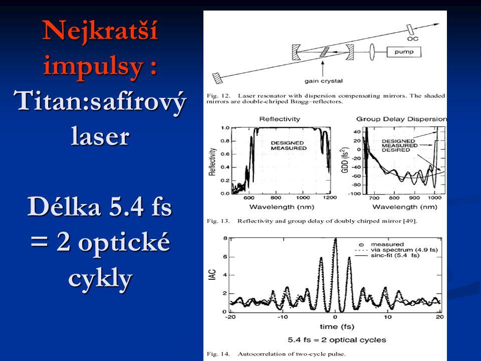 Nejkratší impulsy : Titan:safírový laser Délka 5
