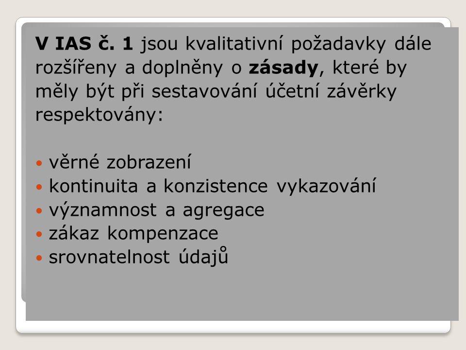V IAS č. 1 jsou kvalitativní požadavky dále