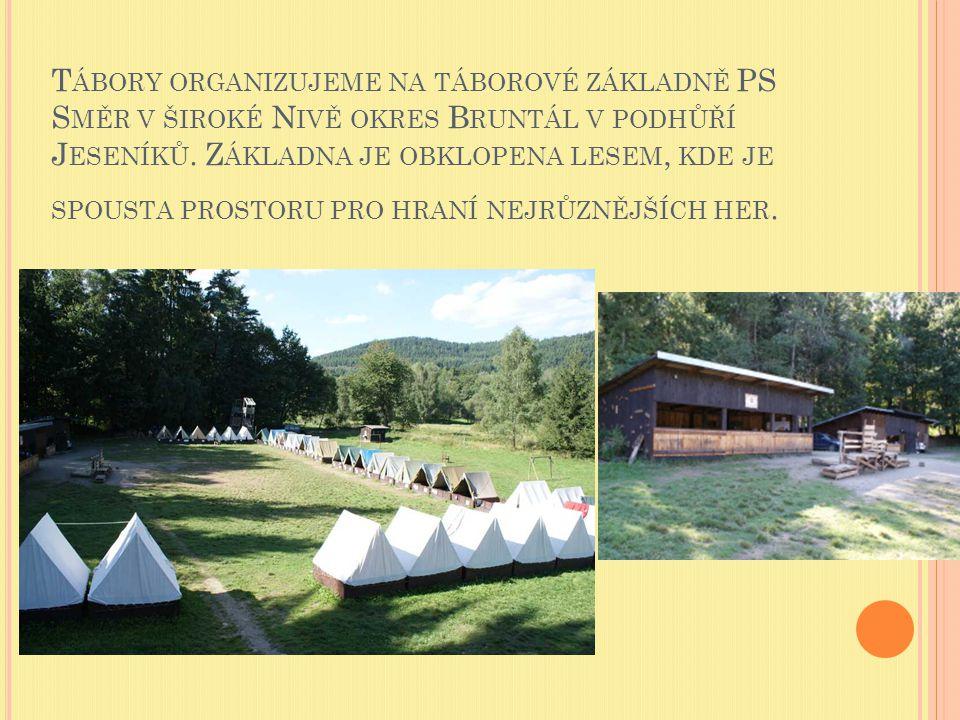 Tábory organizujeme na táborové základně PS Směr v široké Nivě okres Bruntál v podhůří Jeseníků.