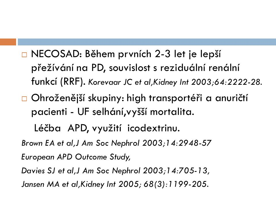 Léčba APD, využití icodextrinu.