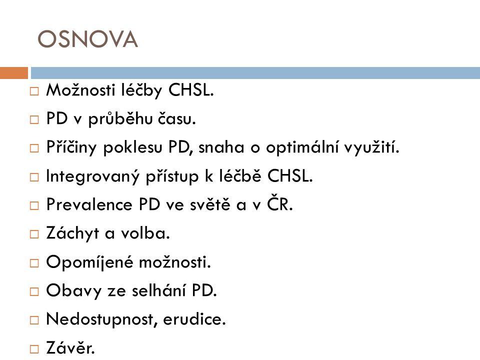 OSNOVA Možnosti léčby CHSL. PD v průběhu času.