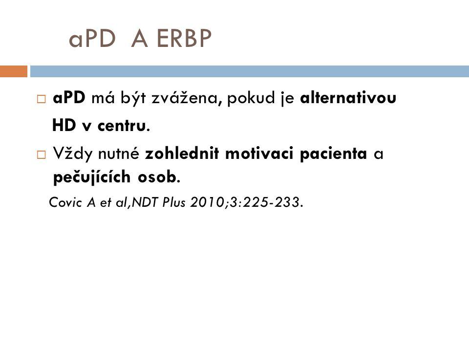 aPD A ERBP aPD má být zvážena, pokud je alternativou HD v centru.