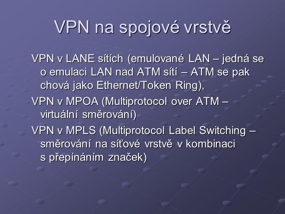 VPN na spojové vrstvě VPN v LANE sítích (emulované LAN – jedná se o emulaci LAN nad ATM sítí – ATM se pak chová jako Ethernet/Token Ring),