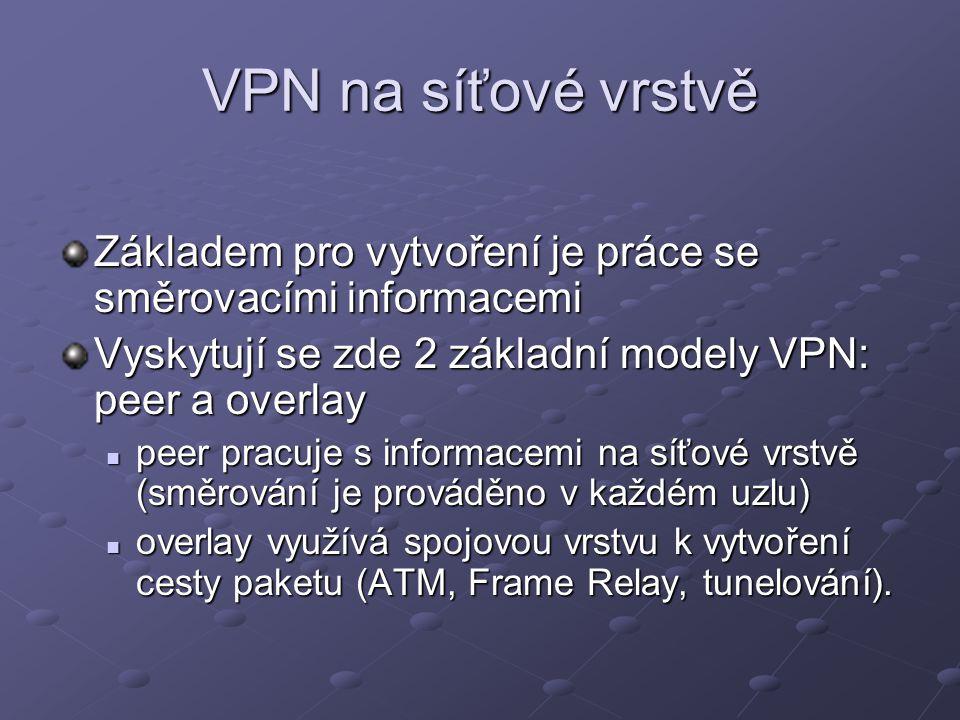 VPN na síťové vrstvě Základem pro vytvoření je práce se směrovacími informacemi. Vyskytují se zde 2 základní modely VPN: peer a overlay.