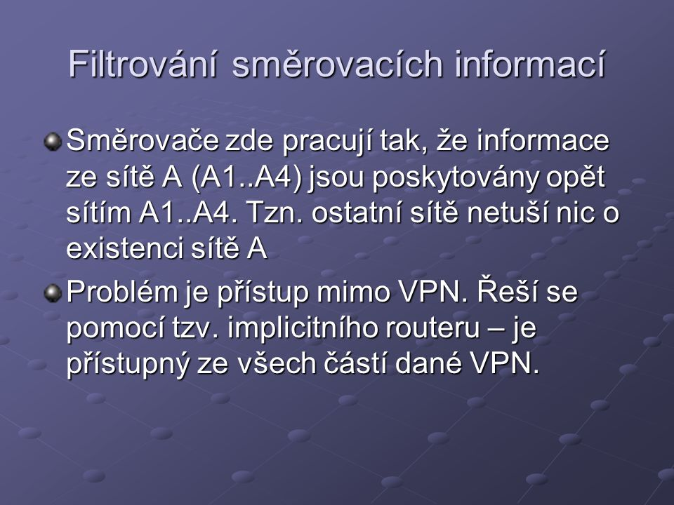 Filtrování směrovacích informací