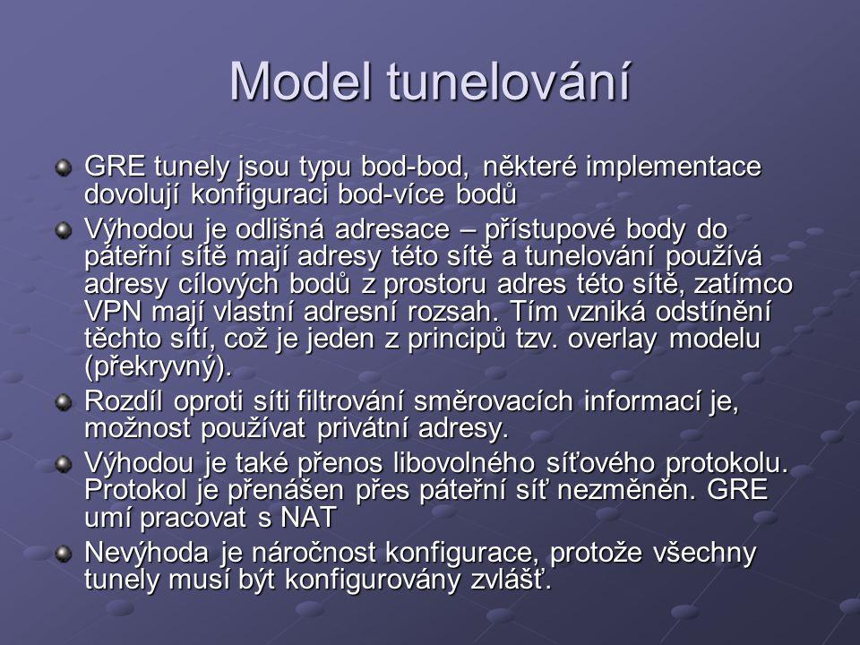 Model tunelování GRE tunely jsou typu bod-bod, některé implementace dovolují konfiguraci bod-více bodů.