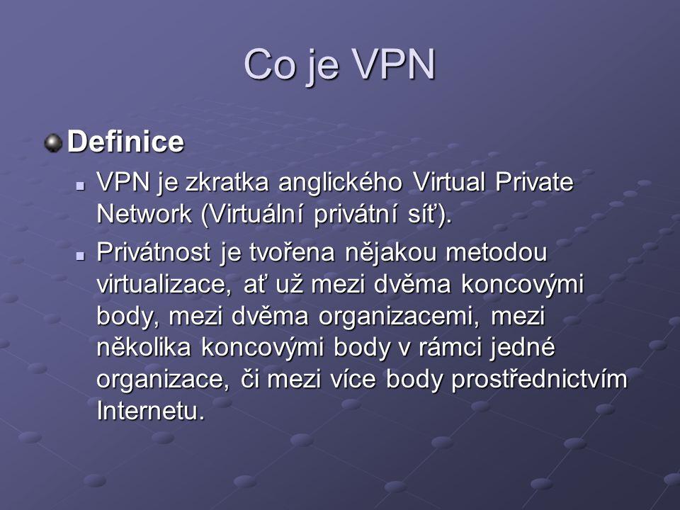 Co je VPN Definice. VPN je zkratka anglického Virtual Private Network (Virtuální privátní síť).