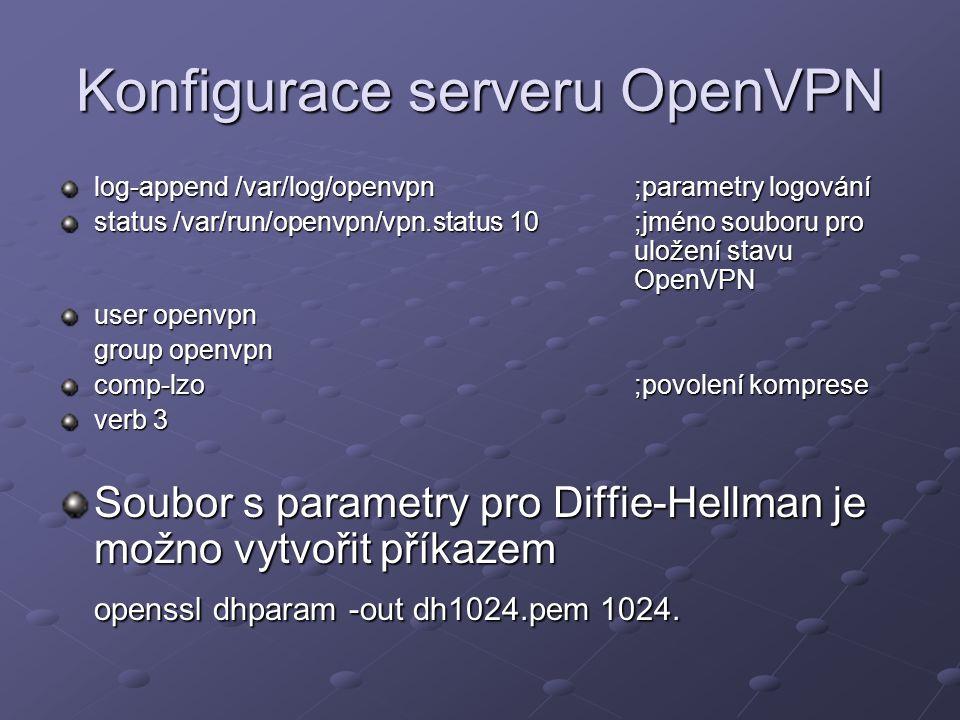 Konfigurace serveru OpenVPN