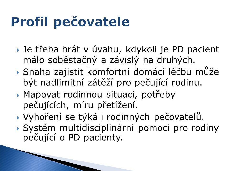 Profil pečovatele Je třeba brát v úvahu, kdykoli je PD pacient málo soběstačný a závislý na druhých.