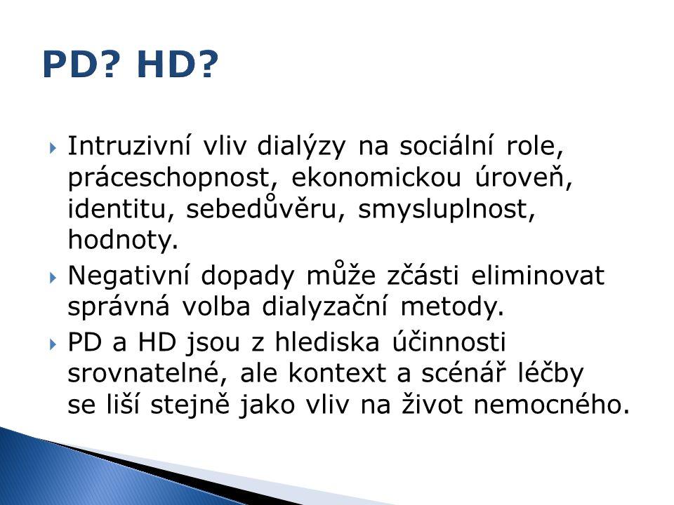 PD HD Intruzivní vliv dialýzy na sociální role, práceschopnost, ekonomickou úroveň, identitu, sebedůvěru, smysluplnost, hodnoty.