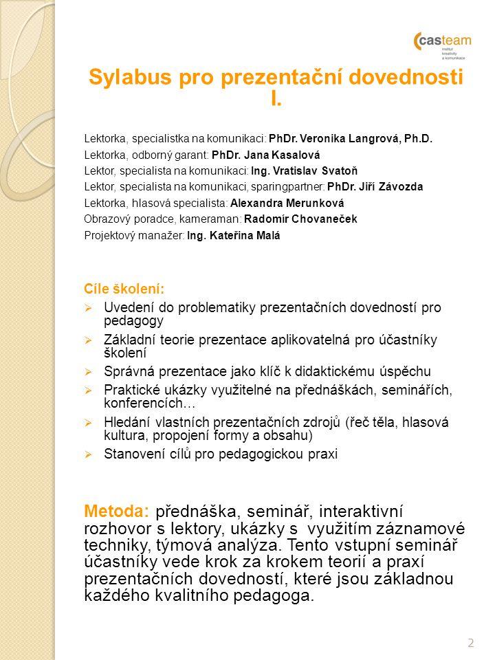 Sylabus pro prezentační dovednosti I.