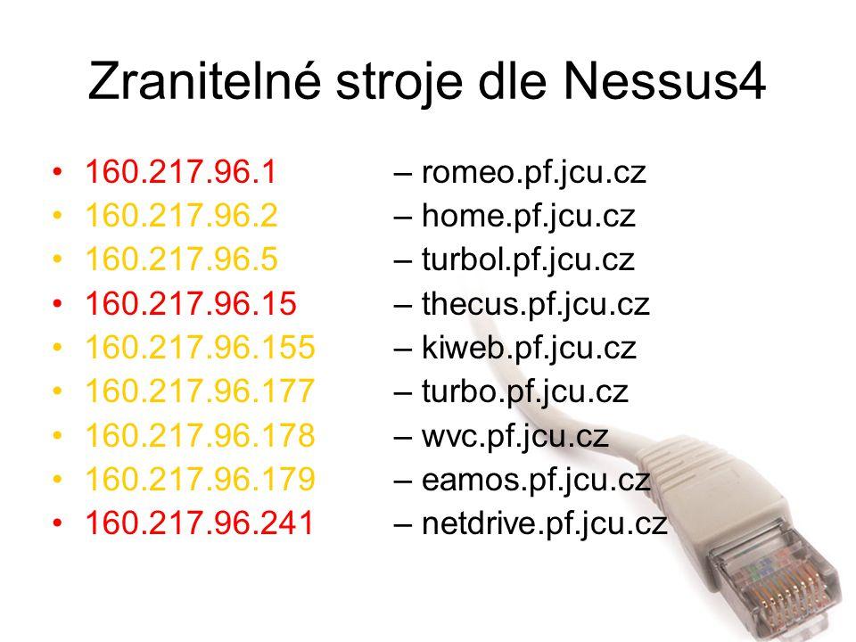 Zranitelné stroje dle Nessus4