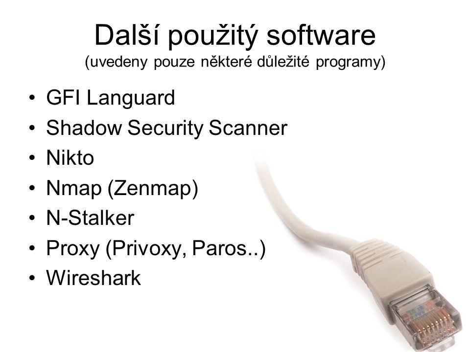 Další použitý software (uvedeny pouze některé důležité programy)