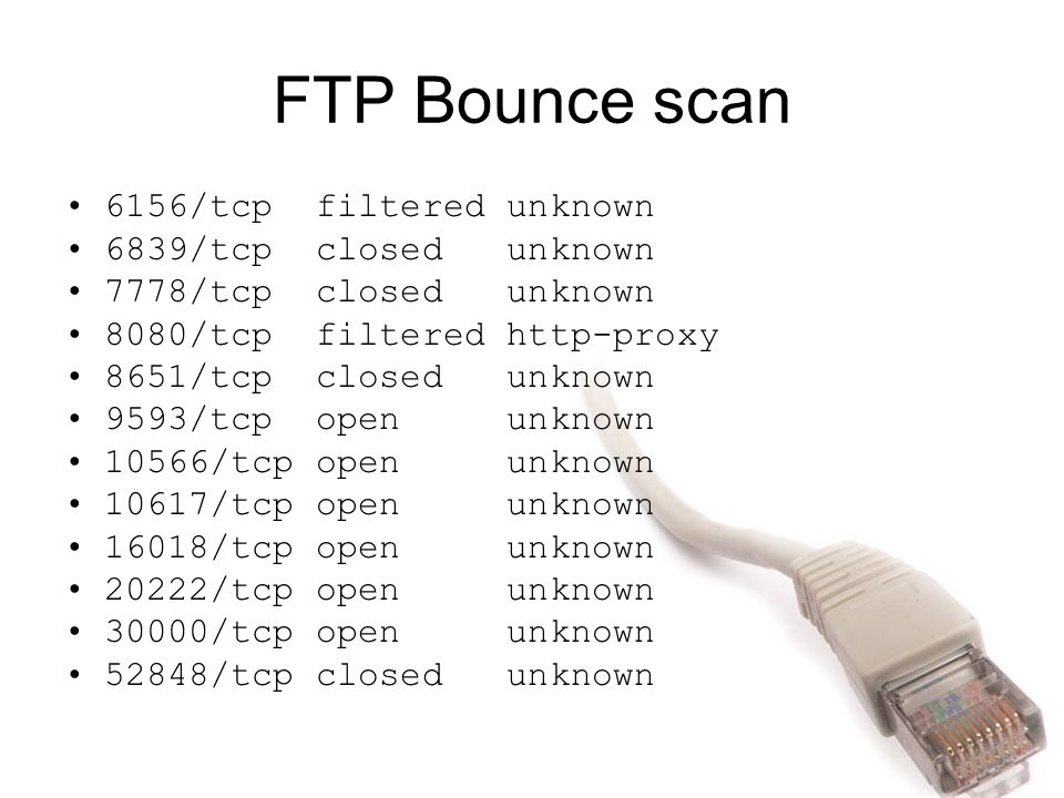 FTP Bounce scan 6156/tcp filtered unknown 6839/tcp closed unknown
