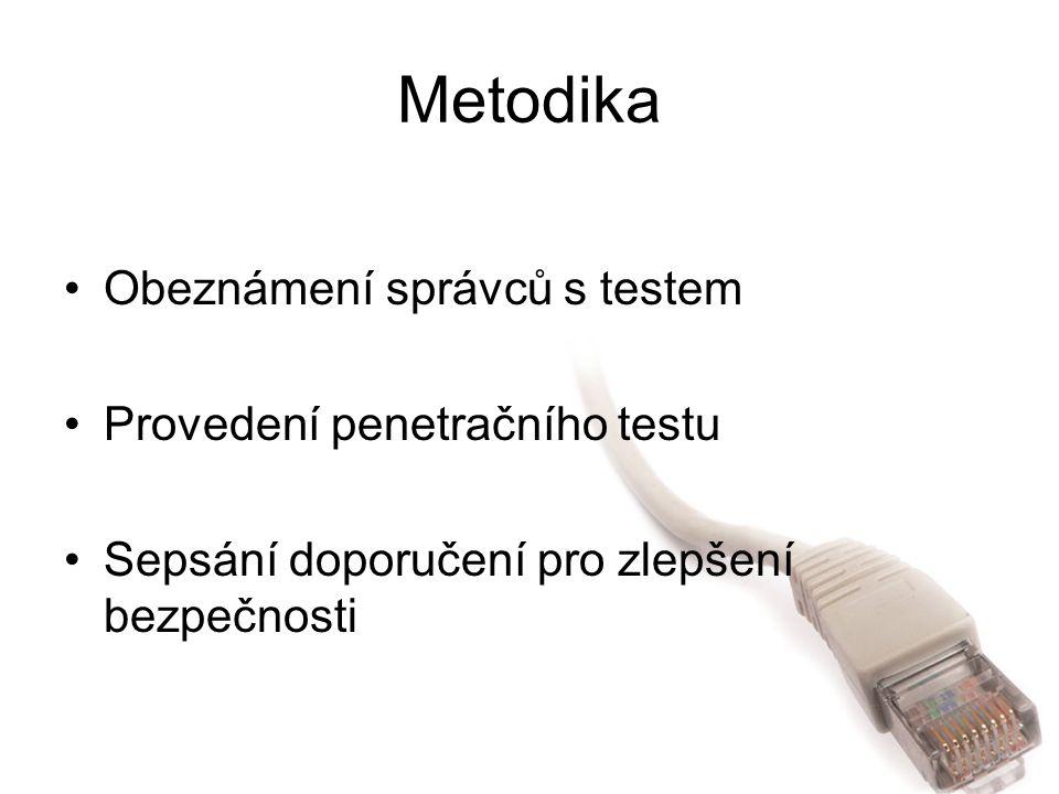 Metodika Obeznámení správců s testem Provedení penetračního testu