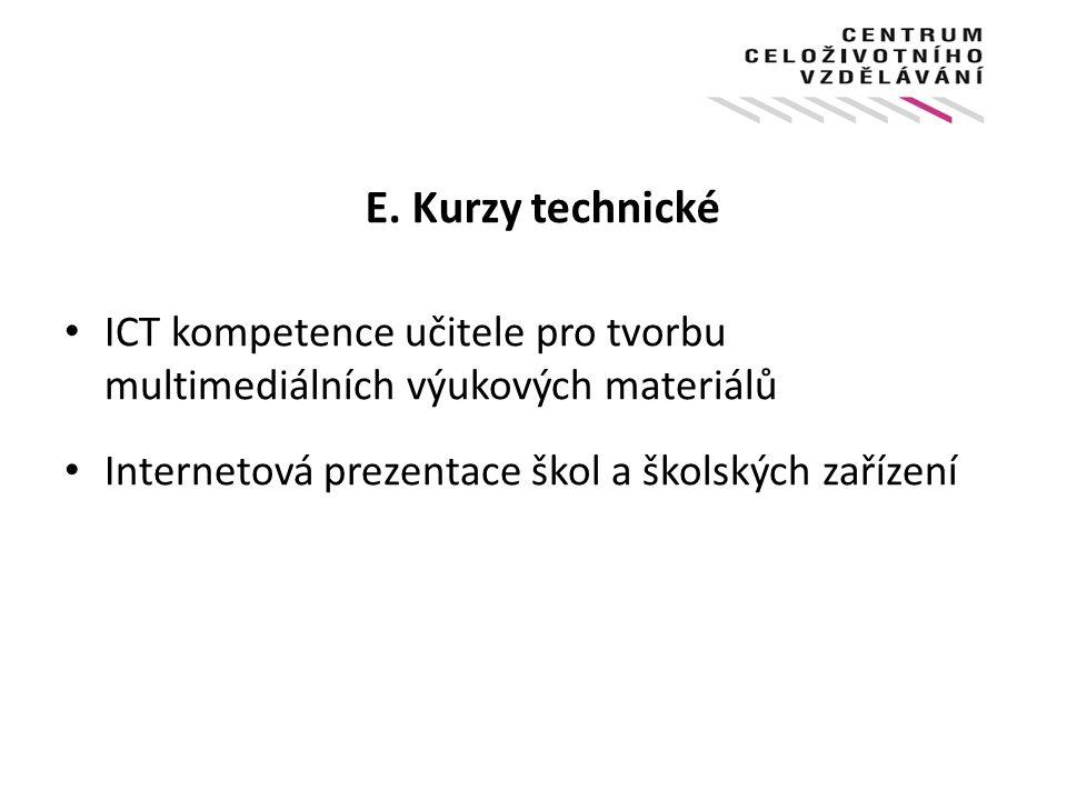 E. Kurzy technické ICT kompetence učitele pro tvorbu multimediálních výukových materiálů.