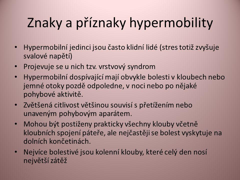 Znaky a příznaky hypermobility