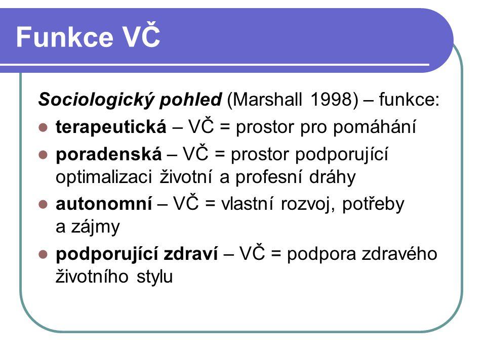 Funkce VČ Sociologický pohled (Marshall 1998) – funkce: