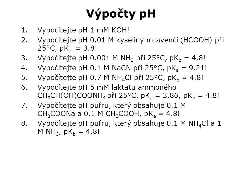 Výpočty pH Vypočítejte pH 1 mM KOH!