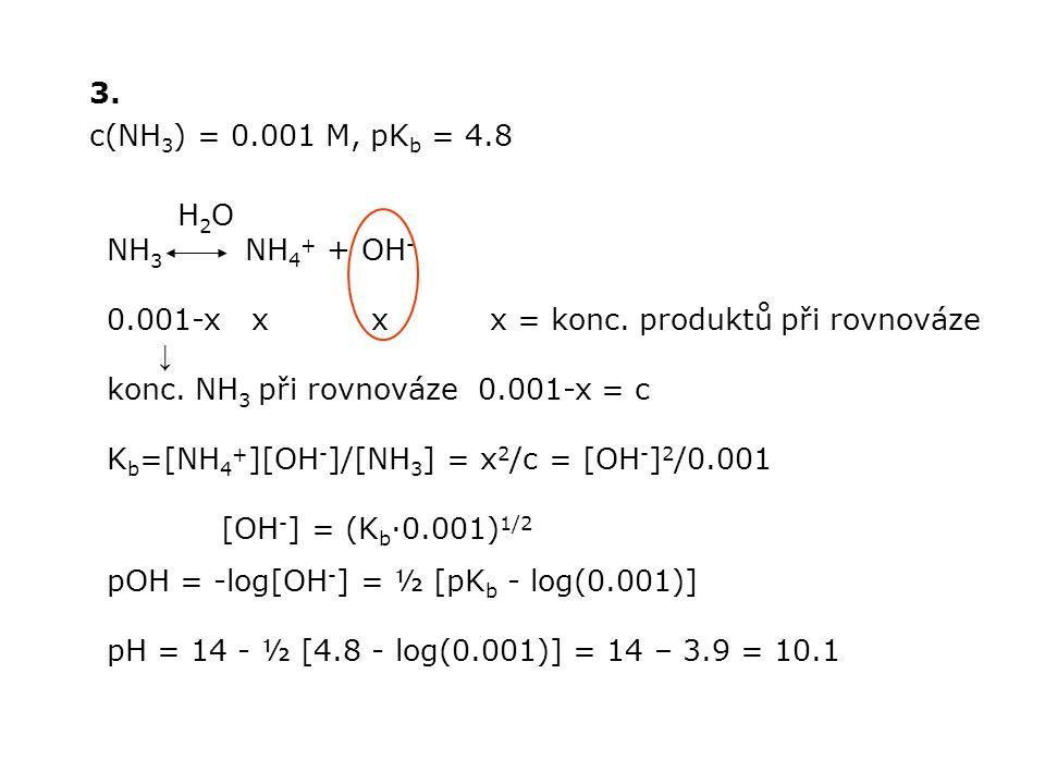 3. c(NH3) = 0.001 M, pKb = 4.8. H2O. NH3 NH4+ + OH- 0.001-x x x x = konc. produktů při rovnováze.