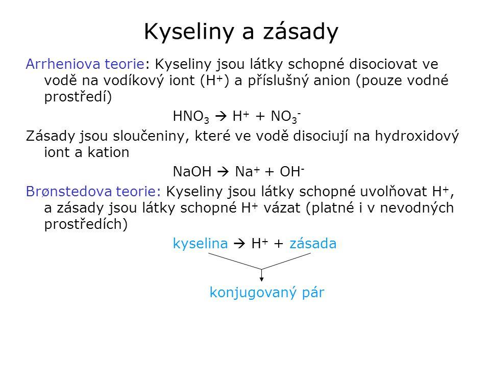Kyseliny a zásady Arrheniova teorie: Kyseliny jsou látky schopné disociovat ve vodě na vodíkový iont (H+) a příslušný anion (pouze vodné prostředí)