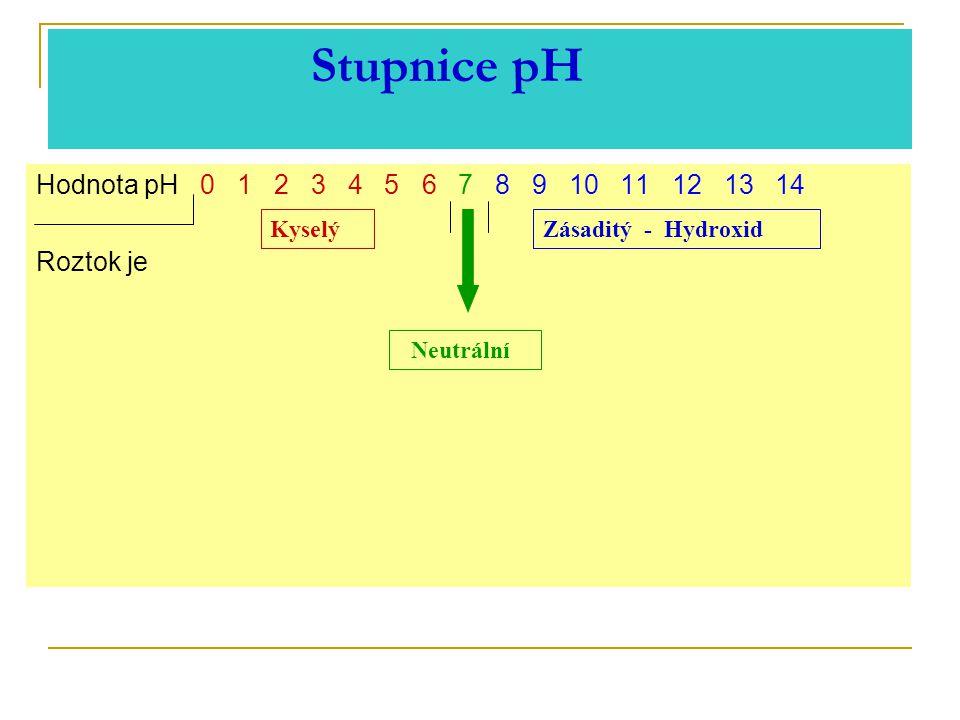 Stupnice pH Hodnota pH 0 1 2 3 4 5 6 7 8 9 10 11 12 13 14 Roztok je