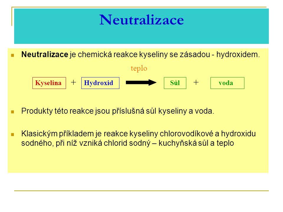 Neutralizace Neutralizace je chemická reakce kyseliny se zásadou - hydroxidem. Produkty této reakce jsou příslušná sůl kyseliny a voda.