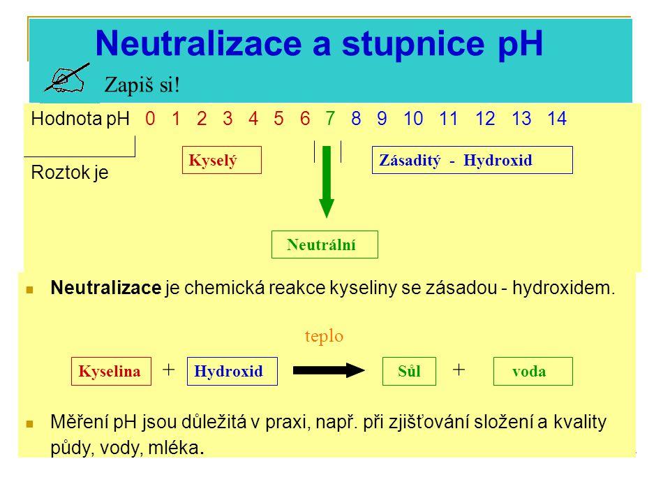 Neutralizace a stupnice pH