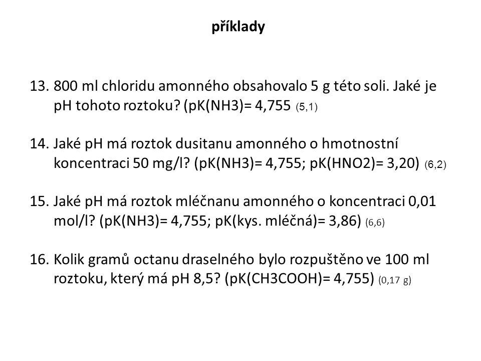 příklady 800 ml chloridu amonného obsahovalo 5 g této soli. Jaké je pH tohoto roztoku (pK(NH3)= 4,755 (5,1)