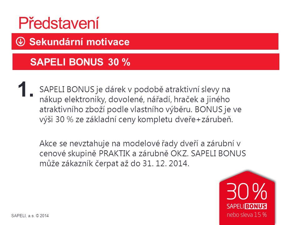 1. Představení Sekundární motivace SAPELI BONUS 30 %