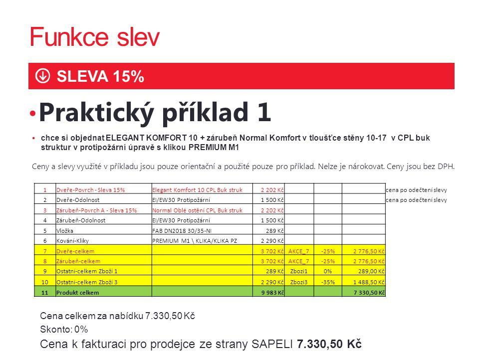 Funkce slev Praktický příklad 1 SLEVA 15% 2222