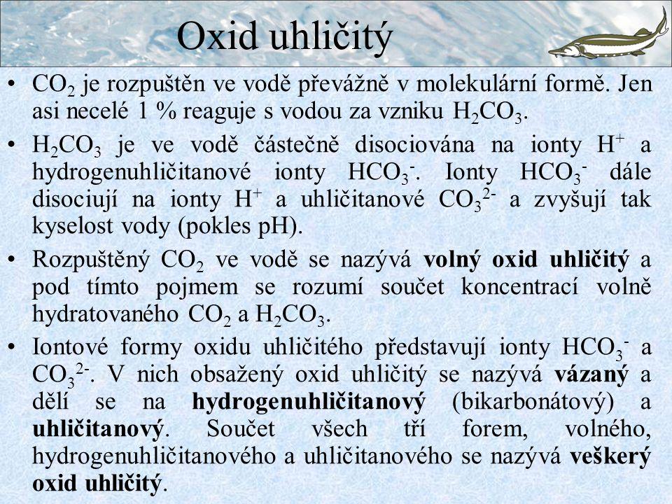 Oxid uhličitý CO2 je rozpuštěn ve vodě převážně v molekulární formě. Jen asi necelé 1 % reaguje s vodou za vzniku H2CO3.