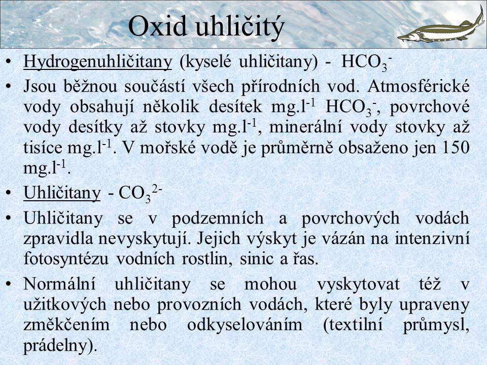 Oxid uhličitý Hydrogenuhličitany (kyselé uhličitany) - HCO3-