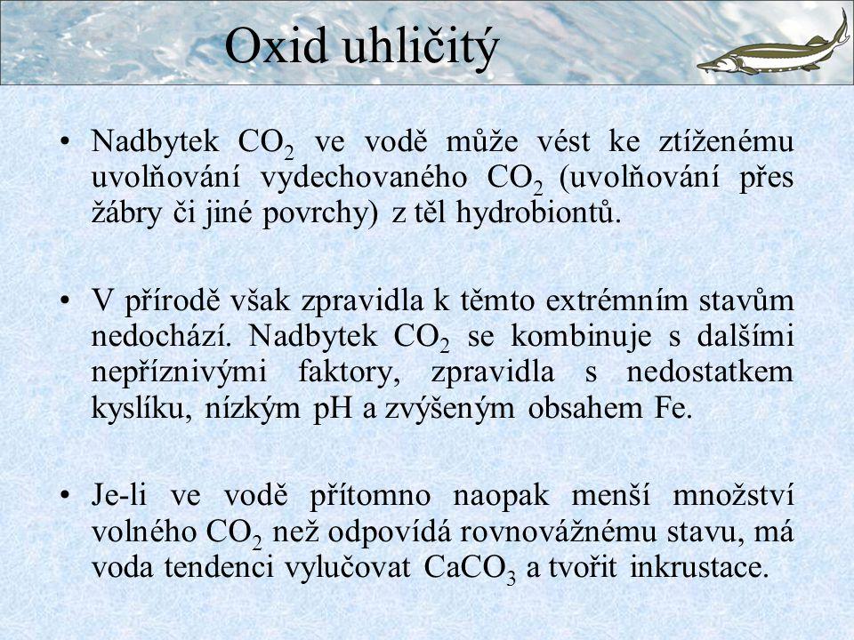 Oxid uhličitý Nadbytek CO2 ve vodě může vést ke ztíženému uvolňování vydechovaného CO2 (uvolňování přes žábry či jiné povrchy) z těl hydrobiontů.