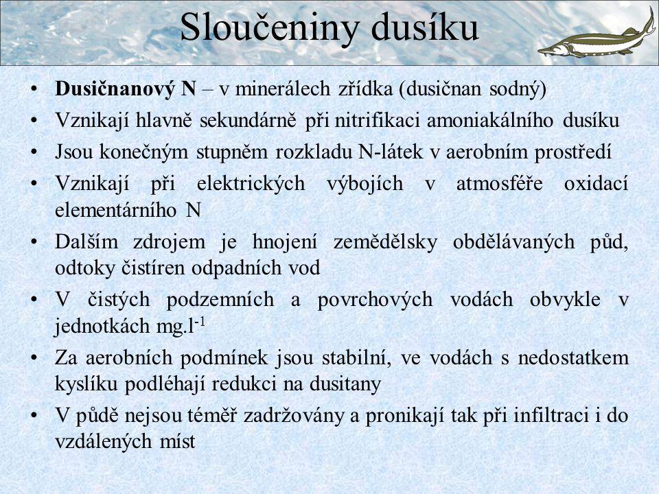 Sloučeniny dusíku Dusičnanový N – v minerálech zřídka (dusičnan sodný)