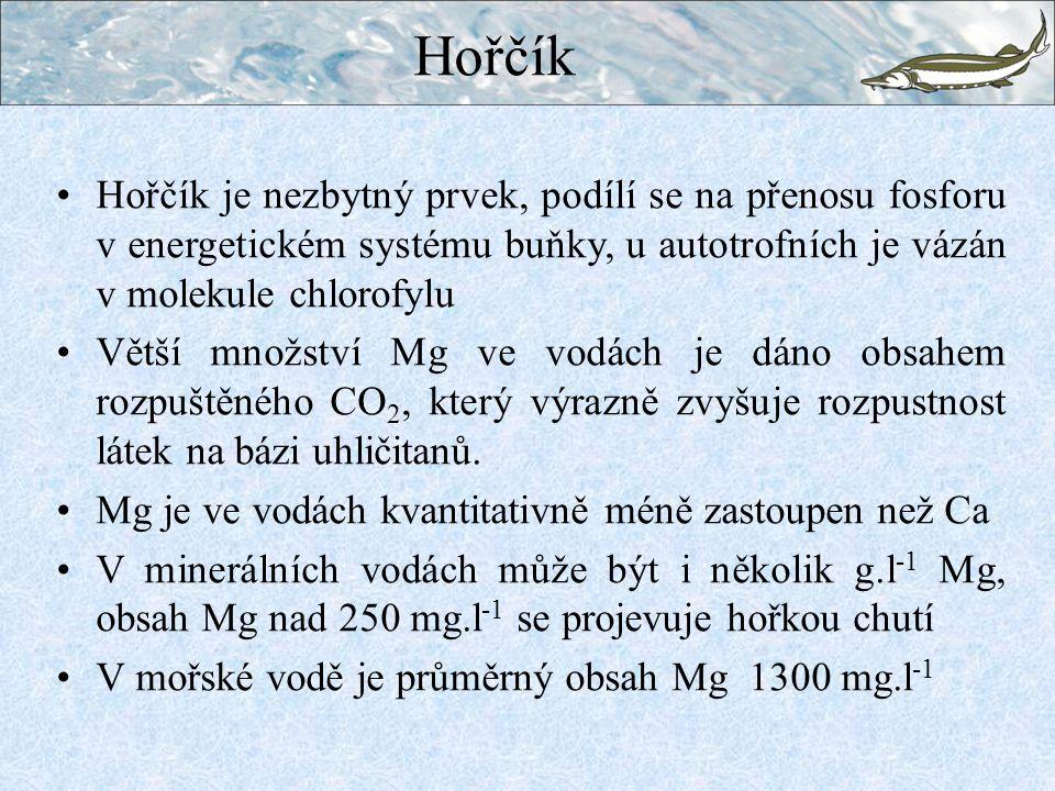 Hořčík Hořčík je nezbytný prvek, podílí se na přenosu fosforu v energetickém systému buňky, u autotrofních je vázán v molekule chlorofylu.